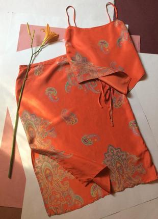 Летний костюм топ и юбка шёлк 100%