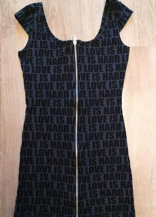 Короткое черное платье h&m с замком