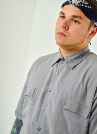 Ysl (yves saint laurent) вискозная oversize-рубашка цвета серый металлик, сорочка