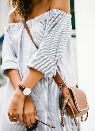 Крутая пляжная туника рубашка платье mango m l 46 48 планка открытые плечи в полоску