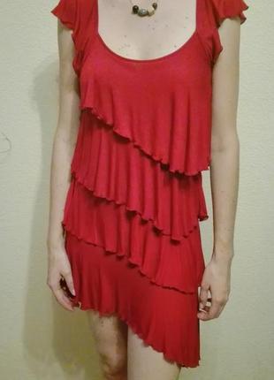 Кокетливое асимметричное платье ltb с оборками, рюшами марсала s/m