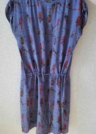 Платье с принтом совы на кулиске