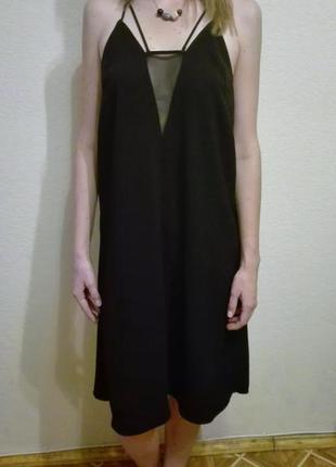 Нарядное платье трапеция h&m с сетчатой вставкой а-силуэт на вечеринку, праздник