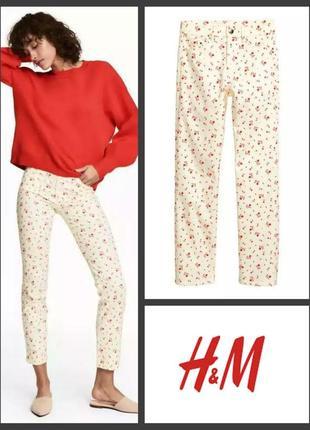 Укороченные летние брюки джинсы штаны slim fit cropped leg от h&m