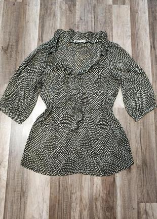 Легкая блуза, туника, рубашка, свободного силуэта цвета хаки с растительным принтом