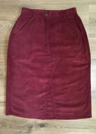Роскошная тонкая вельветовая юбка стрейч,100%коттон