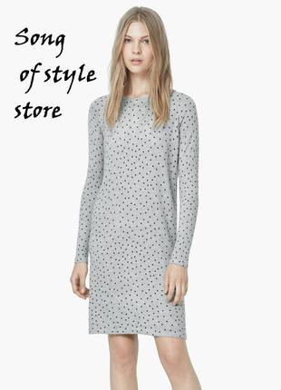 Mango трикотажное платье в горошек  р. xs,s