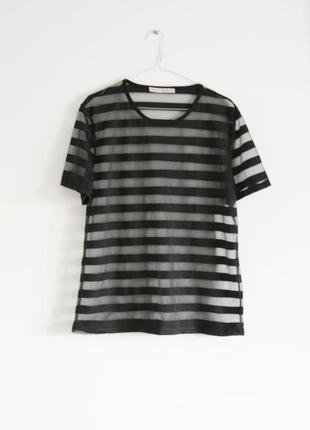 Прозрачная футболка в полоску