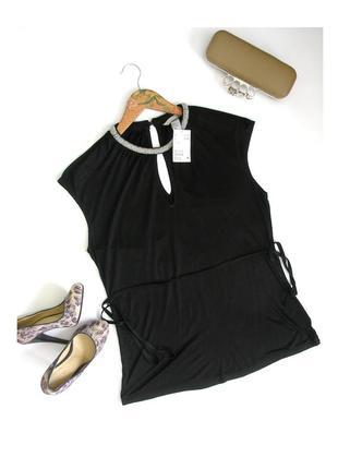M-h&m- вискозная блуза футболка майка с бисерным ожерельем, с биркой
