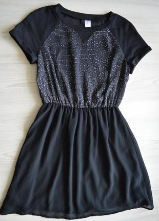 Чорне шифонове плаття від h&m