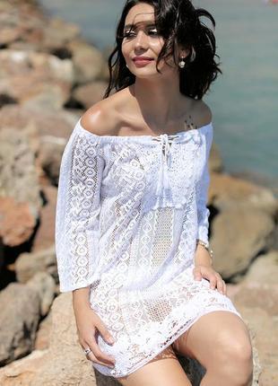 Летние коттоновые пляжные кружевные туники m-2хl, fresh-cotton