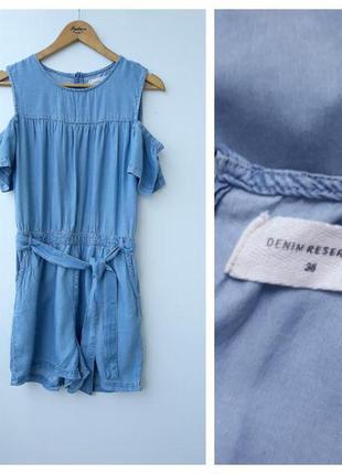 Джинсовый ромпер с открытыми плечами s#джинсовый комбенизон с шортами