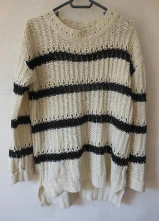 Полосатый свитерок крупной вязки