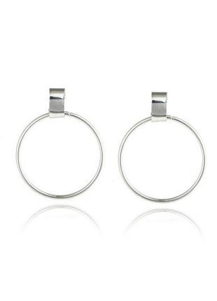Красивые круглые серьги кольца серебряные (на гвоздике)