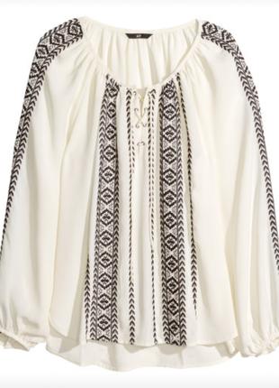 Красивая вышитая блузка со шнуровкой от h&m p.m-l-xl/чёрно-белая вышиванка