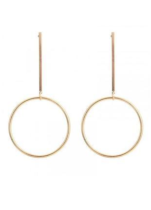 Длинные висячие серьги с кольцами (золотые)