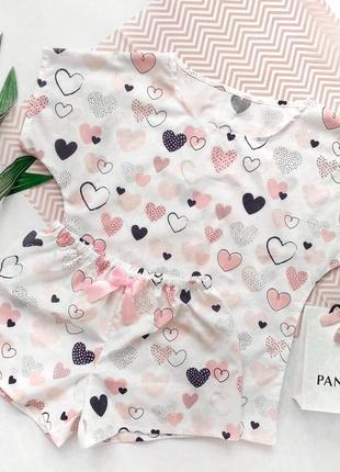 Хлопковая пижама, футболка и шорты, комплект для сна с принтом сердечки ручной работы