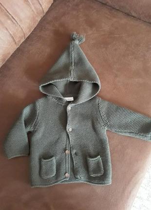 Кардиган свитер от next вязаный 0-3 месяца цвета хаки