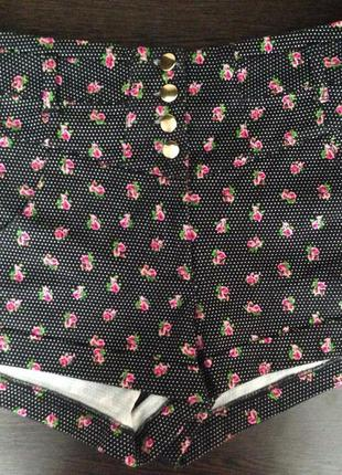 Topshop шорты с завышенной талией в цветочек