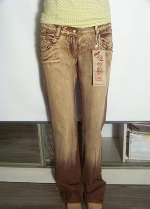 Джинсы прямые коричневые (poem jeans, 40 размер)