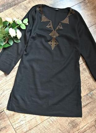 Черная туника/лен/вискоза/блуза/от marks & spencer/s
