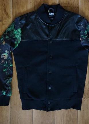 Куртка бомбер пилот maki новая c кожаными вставками