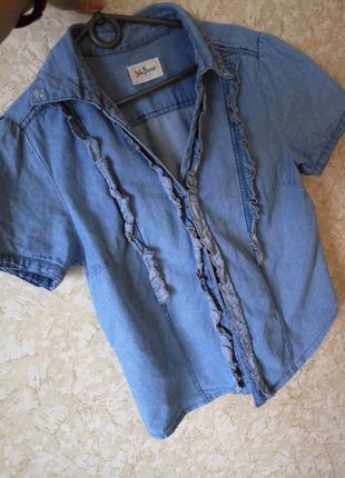 Стильная блуза рубашка джинсовая