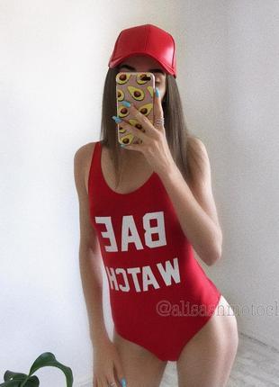 Червоний суцільний купальник красный спасатель малибу s m купить украина