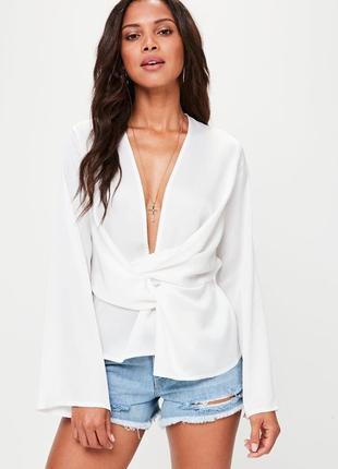 Шикарная новая легкая блуза с v-образным декольте s/m/xxl missguided