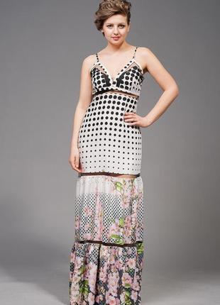 Сарафан/платье в пол с цветочным принтом, р.48 полномерка