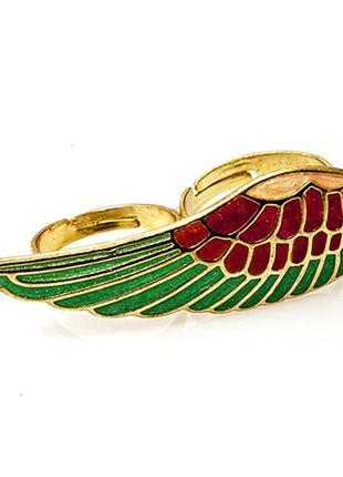 Оригинальное кольцо на 2 пальца крыло5 фото