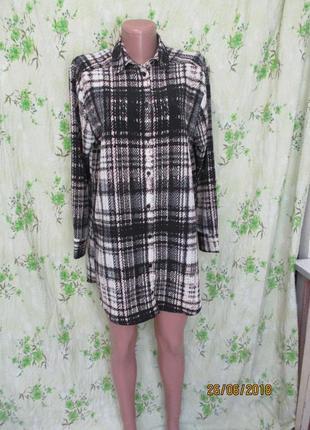 Удлиненная рубашка туника с разрезами оверсайз/принт/клетка 42-44-46 размер