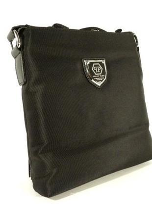 Сумка мужская через плечо  0881-2 черная текстильная, 25*23*5 см
