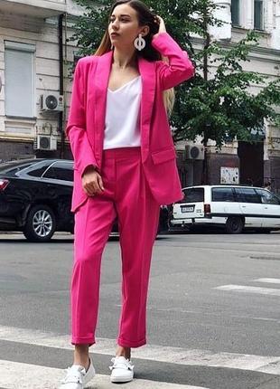 Шикарный малиновый фуксия классический брючный костюм удлиненный пиджак жакет
