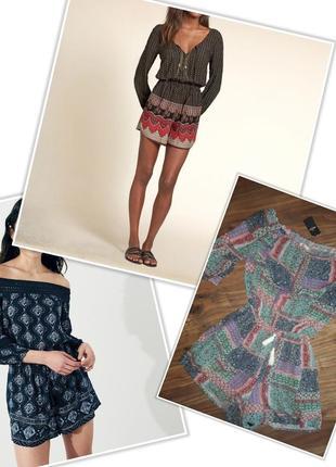 Крутой ромпер hollister комбинезон открытые плечи шорты сарафан платье вискоза