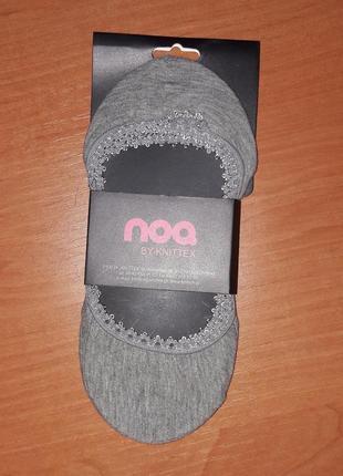 Женские следки тм noq серые с ажурной резиночкой