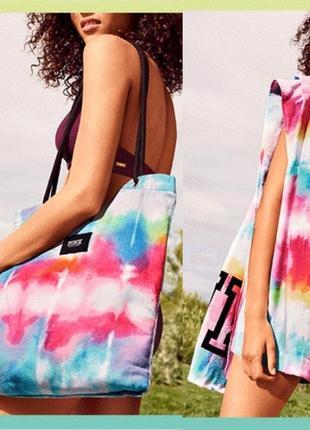 Пляжное полотенце-сумка pink от victoria's secret, оригинал