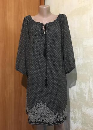 Лёгкое шифоновое платье в принт,реглан с открытыми плечиками!