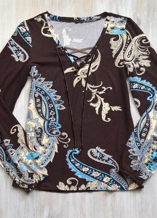 Коричневая трикотажная вискозная блуза bonprix пейсли принт р.м