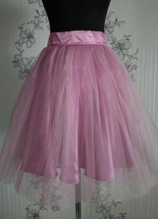 Нежная розовая юбка пачка из сетки, тафты, фатина р xs s m l xl