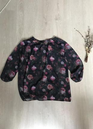 Прозрачная блуза блузка кофточка в розы