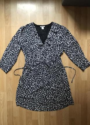 Красивейшее платье миди h&m под шифон в принт м-л2 фото