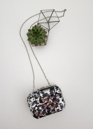 Идеальный клатч на новогоднюю ночь в паетку сумка клатч на цепочке рибья чешуя паетка