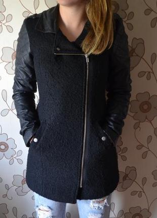 Пальто с кожаными рукавами vero moda
