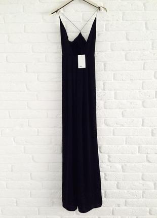 Распродажа шикарное вечернее легкое черное платье в пол на тонких бретельках xxs-xs asos
