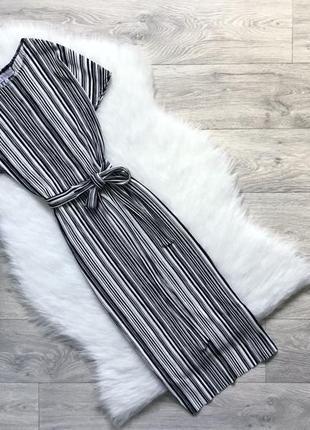 Платье миди плиссированое в полоску