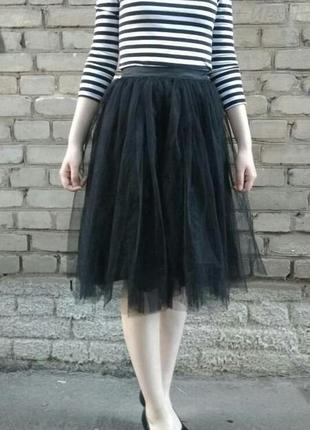 Чёрная воздушная юбка пачка шопенка из фатина, сетки р xs s m l xl