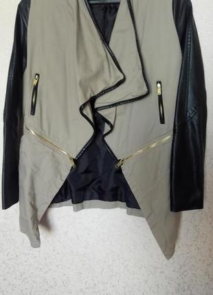 Курточка с кожаными рукавами