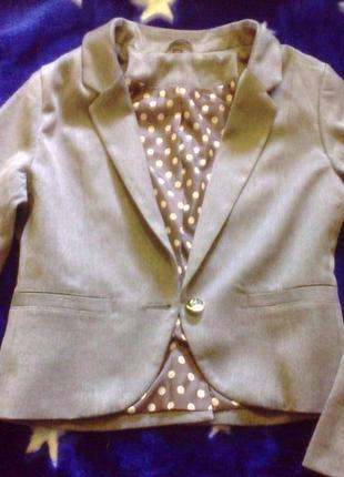 Укороченный серый пиджак жакет h&m