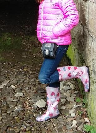 Резиновые сапоги с флисовым носком hooper розовые разноцветные в сердечко 38 размер